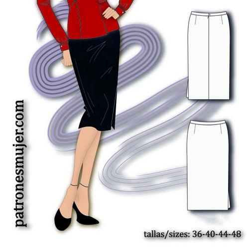 falda con abertura lateral-patronesmujer
