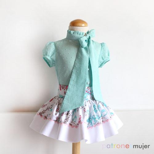 blusa con lazo en el escote-patronesmujer