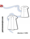 Girl dress with a front pleat