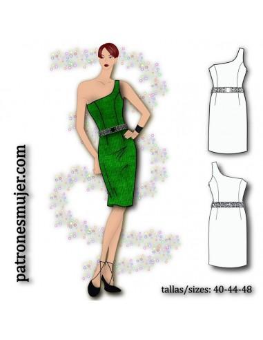 Dress with asymmetrical neckline.