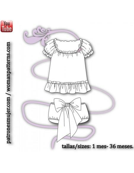 Conjunto de blusa y culotte.