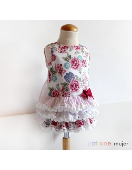 Dress with ruffled skirt.