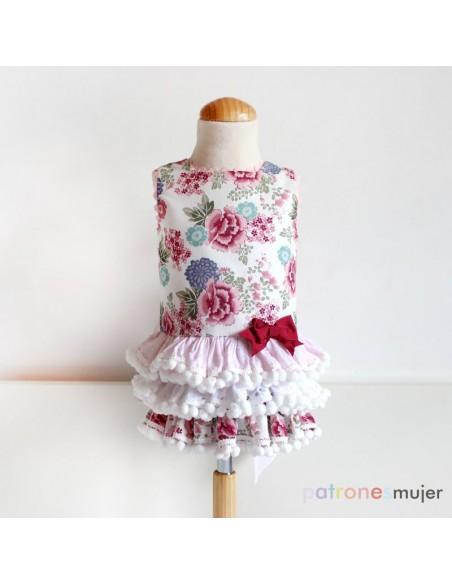 Dress with ruffled skirt.