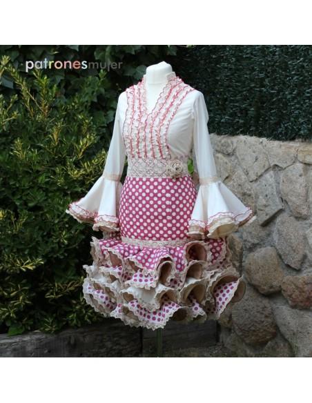 Patrón de conjunto flamenco corto de mujer.