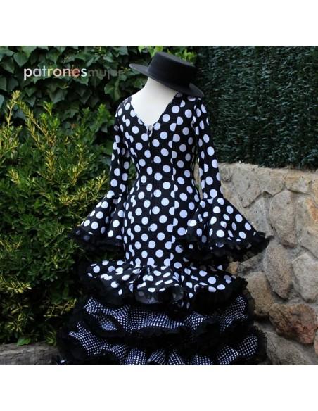 Patrón de vestido flamenco largo de mujer.