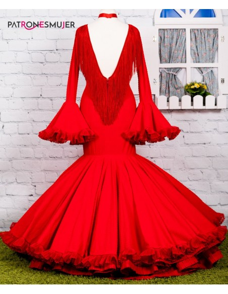 Patrón de vestido flamenco clavel de mujer.