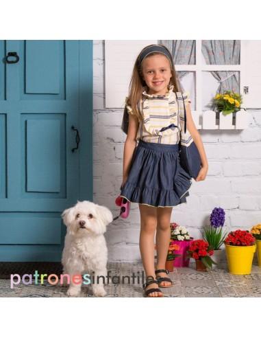 Conjunto de blusa y falda pareo