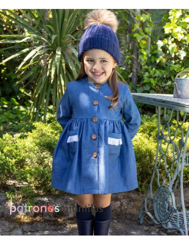 Denim dress with fur collar