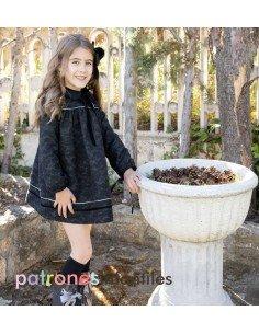 Denim dress with fur collar