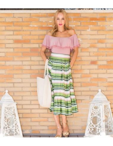 Falda de rayas .