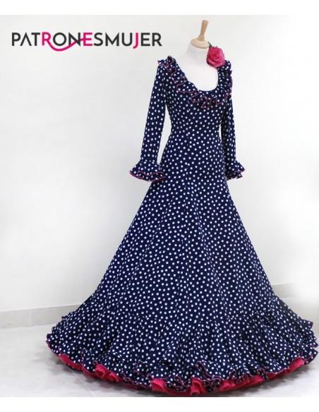 Patrón de vestido flamenco de nesgas de mujer.