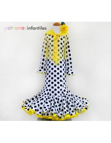 Patrón de vestido flamenca de niña de...