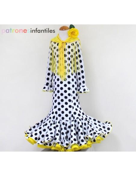 Patrón de vestido flamenca de niña de nesgas