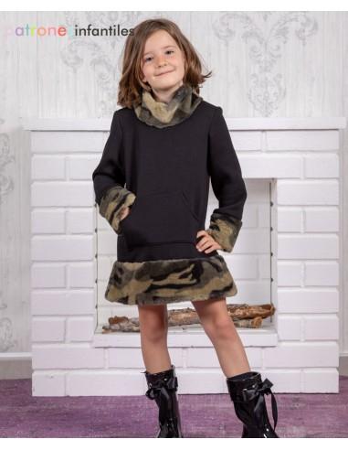 Military inspired fur dress