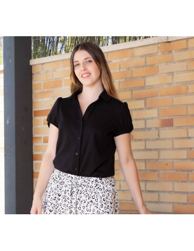 Black blouse with collar.