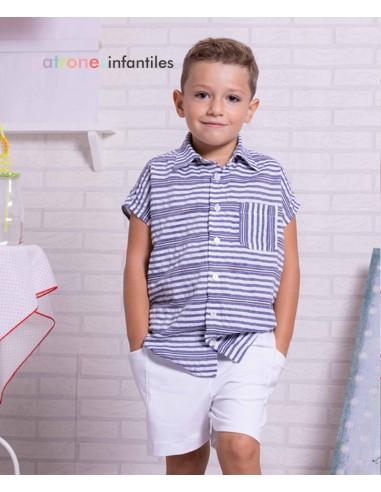 Patrón conjunto de camisa de rayas