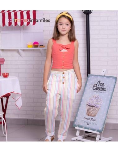 Patrón conjunto de top y pantalón largo
