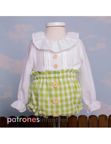 Patrón conjunto blusa y braguita