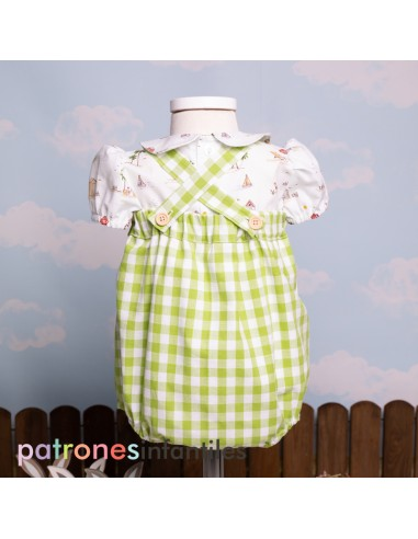 Pattern Pinocchio dungaree outfit
