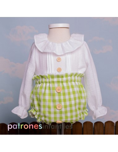 Pattern blouse and diaper cover outfit