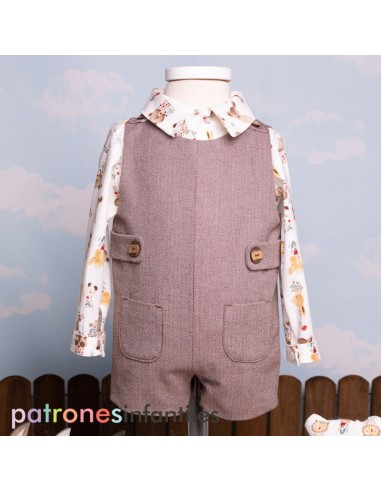 Pattern dungaree outfit