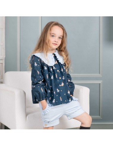 Pattern baby doll collar blouse outfit
