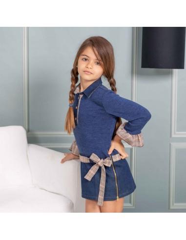 Pattern denim low waist dress