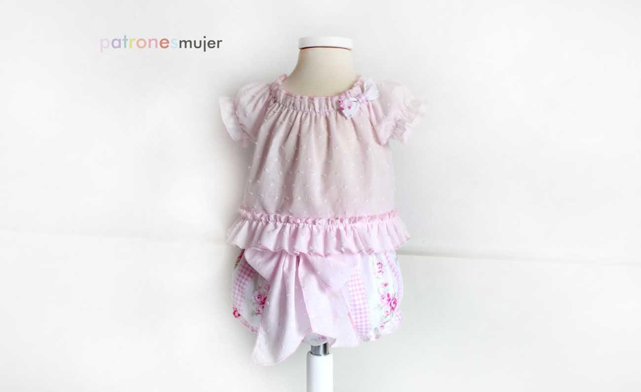 Conjunto de blusa y culotte: Costura para bebé. - Patronesmujer ...