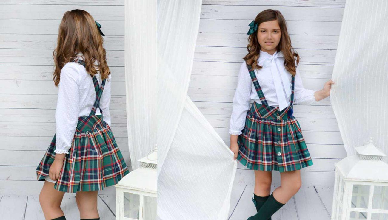 36efed804 Conjunto de falda con tirantes. Costura para niña. - Patronesmujer ...