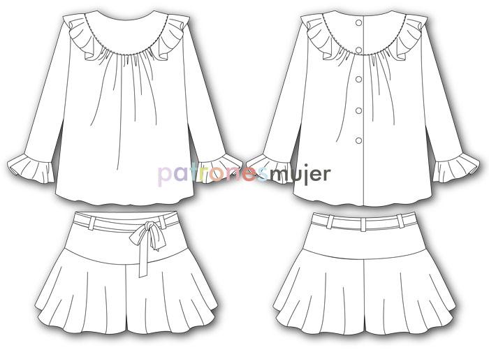 conjunto de falda pantalón y blusa