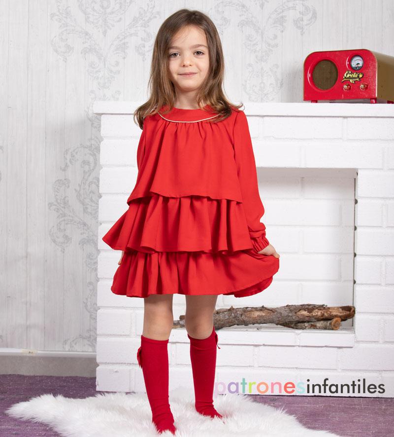 Vestido rojo de capas