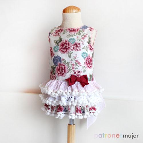 Patrón vestido con falda